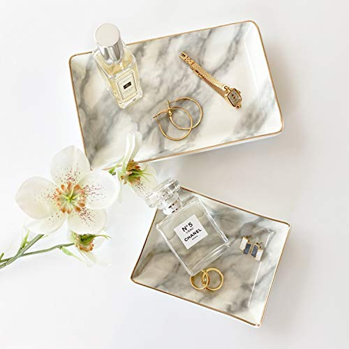 April Box Valet Marble Tray set of 2 – Marble Console Table Trays – Key Trays –Vanity Trays–Jewelry dish– Decorative Tray Organizer for Watch, Wallet, Perfume, Keys – Made of Thick and Durable Ceramic