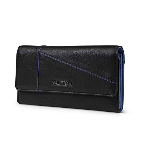 Nautica Money Manager RFID Womens Wallet Clutch Organizer (Black (Buff))