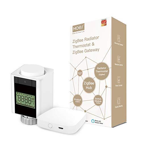 MOES Tuya ZigBee Smart TRV - Juego de controlador termostático de válvula de radiador y cubo de puerta de enlace, termostato programable, funciona con pilas, control de voz con Alexa