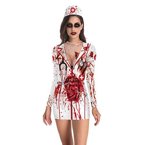 FENICAL Disfraz de Disfraz de Enfermera sangrienta de Halloween Traje de Enfermera Cosplay para Mujer Talla XL