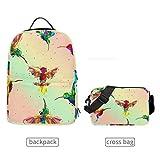 QMIN mochila colorida con patrón de colibrí desmontable para la escuela, bolsa de viaje, universidad, bolsa organizadora para niños, niñas, mujeres y hombres