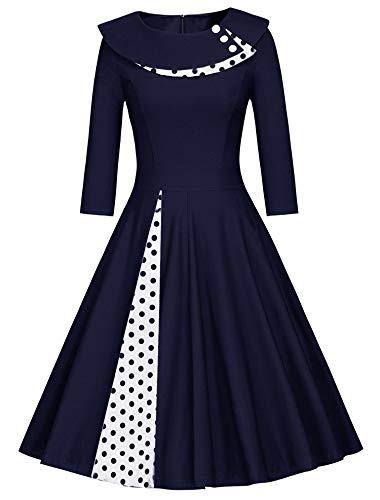 JIER Damen 50erJahre Langarm Rockabilly Kleid Vintage Kleid Festlich Kleid Faltenrock Gepunkt Knielang A-Linie Kleid Elegant Petticoat Cocktailkleid (Navy blau,Large)