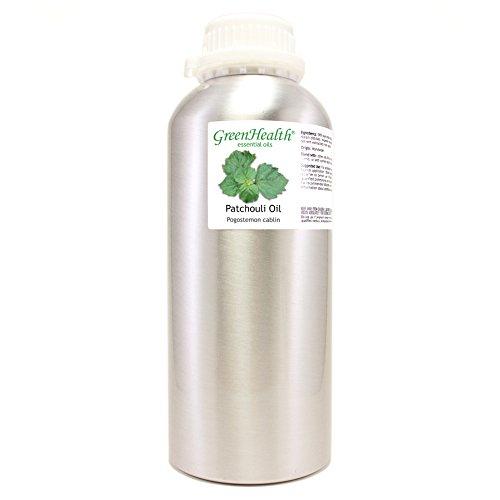 GreenHealth Patchouli – 32 fl oz (946 ml) Aluminum Bottle w/Plug Cap – 100% Pure Essential Oil
