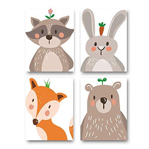 4er Set Kinderzimmer Poster Babyzimmer Bilder, Bär Kaninchen Fuchs Waldtiere ohne Bilderrahmen Dekoration Bilder für Mädchen Junge Zimmer (2#,21x30cm)