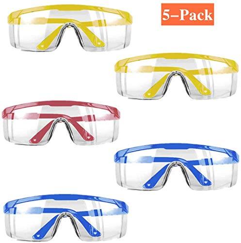 Schutzbrille, staubdicht, atmungsaktiv, staubdicht, staubdicht, perfekter Augenschutz für Medizin, Labor, Chemikalien, Spritzschutz, 5er-Pack