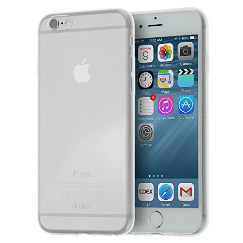 doupi UltraSlim AllClear Custodia per iPhone 6 Plus / 6S Plus (5,5 Pollici), Satinato fine Piuma Facile Mat Semi Trasparente Cover, Trasparente