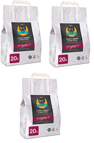 Petgnam 60L Sabbia Vegetale Lettiera Bio Agglomerante Assorbente Smaltibile nel WC Non Si Attacca alle Zampe del Gatto