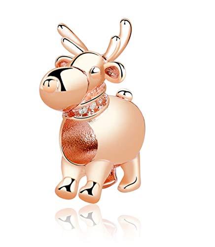 FeatherWish Charm-Anhänger Rudolph Rentier Rotgold 925 Sterling Silber mit Zirkonia für Pandora-Armband