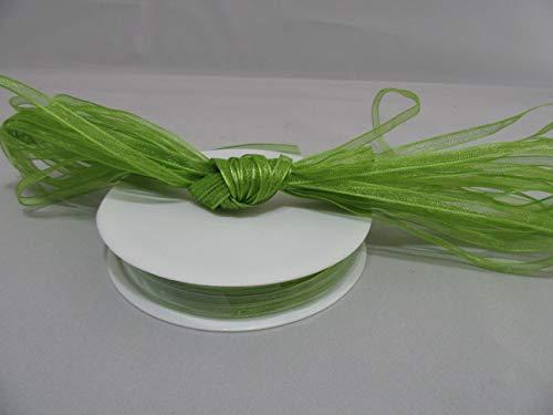 Beautiful Ribbon 1 Rouleau de Ruban en Organza 3mm Pure x 50 mètres de la Sauge Vert Clair Double Face faveurs 3 mm