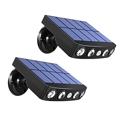 Holmeey Luz solar para el exterior, 2pcs impermeable LED luz de pared solar, luz solar exterior con sensor de movimiento para jardín, carretera, camino