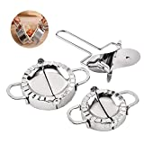 Dough mold dumpling pastry mold, kitchen dumpling maker and noodle press, made of 304 stainless steel, two sizes of dumpling maker(11cm+8.5cm) + noodle press (3PCS)