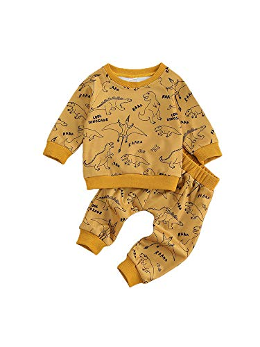 Newborn Baby Boy Clothes Set Long Sleeve Cartoon Dinosaur Sweatsuit & Elastic Pants Set Fall Winter Outfit (Yellow, 12-18 Months)