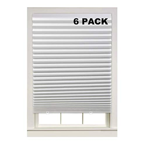 Turquoize Light Filtering Temporary Pleat Paper Shades, White, Quick Fix & Easy to Install, 36' x 72', 6-Packs, with 12 Clips