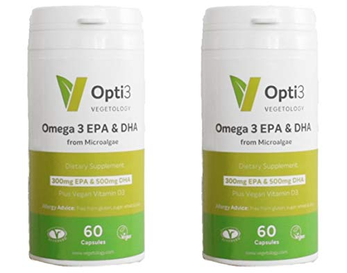 Opti3 Omega-3 EPA & DHA- Vegan Omega 3 Supplement Twin Pack 120 Capsules Satisfaction Guaranteed Or Your Money Back !