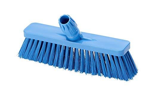 Aricasa Hygiene Products 1038BS bezem, gebogen, met steel 30 voor gebruik met levensmiddelen – lichtblauw – zachte vezel.