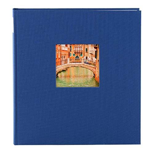 goldbuch 24895 Fotoalbum mit Fensterausschnitt, Bella Vista, Erinnerungsalbum 25 x 25 cm, Foto Album 60 weiße Seiten mit Pergamin-Trennblättern, Fotobuch aus Leinen, Blau