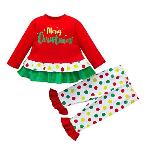 Bébé Fille Mini Robe en Tutu+Pantalon Deux Pièces (0-24 Mois), Ewendy Bambin Ensemble Couleur Hauts Jupe Courte et Pantalons Hauts en Pur Coton Merry Christmas