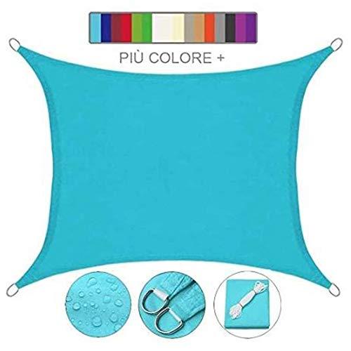 Myan Sonnensegel, rechteckig, UV-Schutz, wasserdicht, für Außenbereich, Terrasse, Garten, mehrere Farben und Größen, blau, 2x2m
