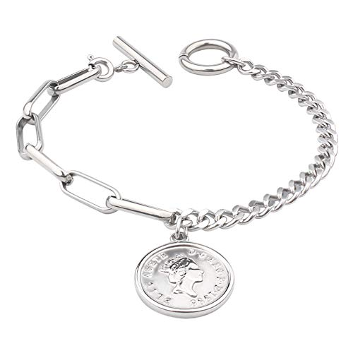 N Bracelet jewelry Stainless Steel Queen II Coin Charm Bracelet Mirror Polished Chain Bracelet For Women Valentines Day present