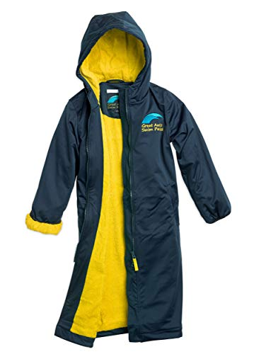 Great Aussie Swim Parkas - Swim Team Parka, Jacket & Coat for Women, Men & Kids (Gold/Navy, Youth(12))