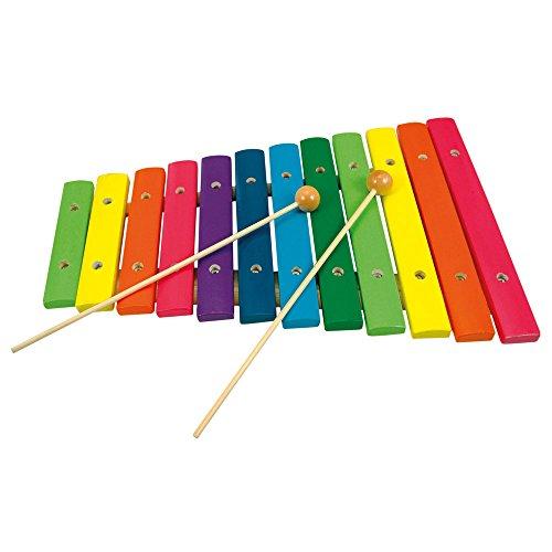 Bino & Mertens 86554 - Xylophon aus Holz, in Regenbogenfarben, 12 Töne, mit 2 Klöppeln. Für die ersten Versuche zu musizieren. Das Klangspiel bereitet Eltern und den Kleinen Vergnügen. 33x22x4 cm.