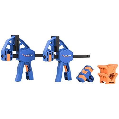 DEXTER - Schraubzwingen - 2er-Set Einhandzwingen - Spannweite 150 mm/450 mm - Mehrzweckzubehör - Verbinder - Multifunktionsköpfe