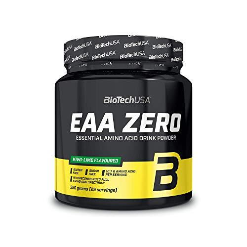 BioTechUSA EAA Zero Suplemento dietético con sabor, bebida en polvo con aminoácidos esenciales, L-glutamina y edulcorantes, 350 g, Kiwi-Lima