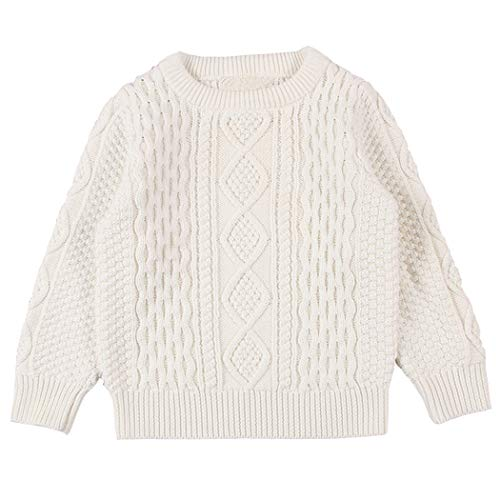 Wennikids Baby Boy Girl Twist Knit Pullover Sweater Cotton Lined Warm Sweatshirt XXXLarge White01