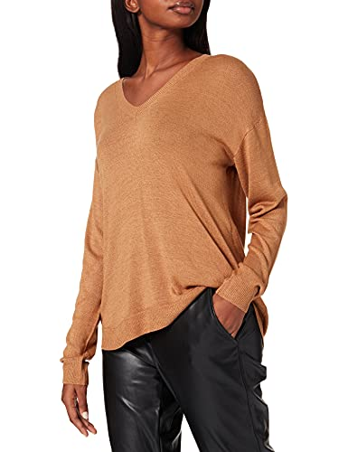 Vero Moda Vmmeghan Ls V-Neck Blouse GA Boo Sweater, Tan/détail : Marron Tabac, S Femme