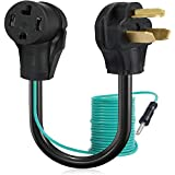 BOEEMI 4 Prong to 3 Prong Dryer Adapter Cord Convert 4 Prong Dryer Plug to 3 Prong Wall Outlet, NEMA 10-30P Male to 14-30R Female 120V/240V 30 Amp Dryer Plug Adaptor with Safety Ground Wire, 1.5FT