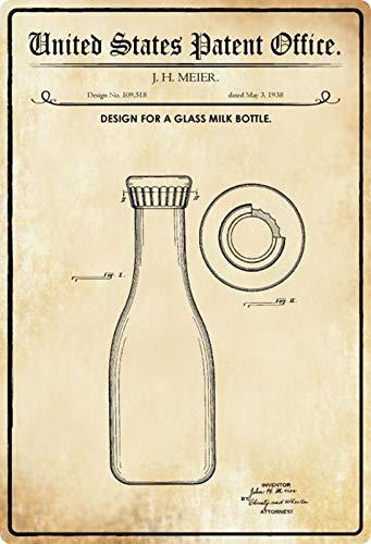 Metalen bord 20x30cm Patent Ontwerp glazen fles voor melk 1938 bord Tin Sign