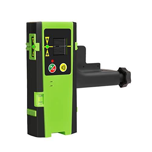 Huepar LR-6RG Laserdetektor für Puls-Kreuzlinienlaser, Digital Laserempfänger für Rote und Grüne Laserstrahlen bis zu 50-60m, 3-seitige LED-Anzeigen, Automatischer Abschalttimer, Inklusive Klemmhalter