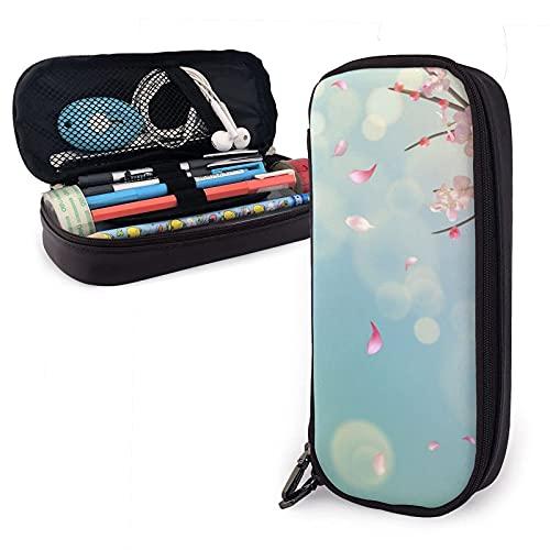 estuche Spring Cherry Blossom Sakura With Falling Petals Leather Pencil Case Bag,Big Capacity Durable Zipper Pen Bag Box For Boys Girls Kids,Pencil Pouch Storage Makeup Cosmetic Bag S