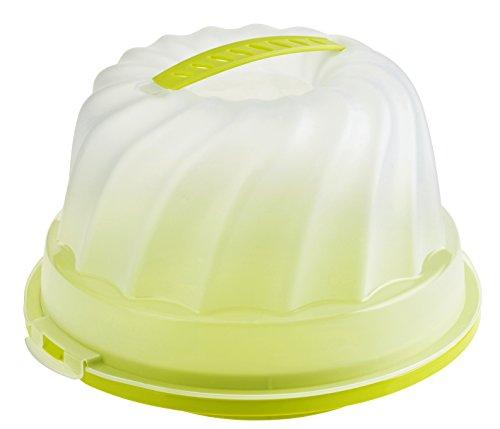 Rotho Fresh Kuchenbehälter - Gugelhupf, Kunststoff (BPA-frei), grün / transparent, (25 x25 x15 cm)