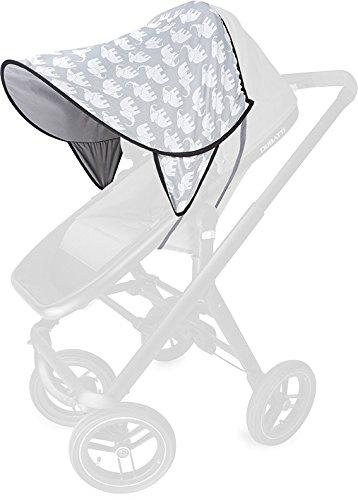 PRIEBES DAISY Sonnendach UV-Schutz 50+ | Sonnensegel Sonnenschutz Sonnenverdeck für Sportwagen, Buggys, Kinderwagen | 100% Baumwolle | beidseitig verwendbar, Design:elefanten grau