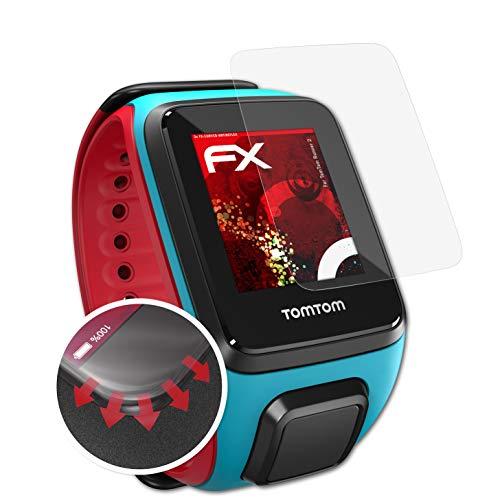 atFoliX Schutzfolie kompatibel mit Tomtom Runner 2 Folie, entspiegelnde & Flexible FX Bildschirmschutzfolie (3X)