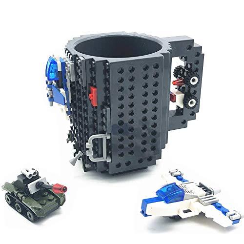 VANUODA Build-on Brick Mug, Tazas Desayuno, Regalos para Hombres Papá Él Amigos Niños Adulto, Originales Regalo Ideal para Navidad Pascua Dia del Padre Cumpleaños, Compatible con Lego (Gris)