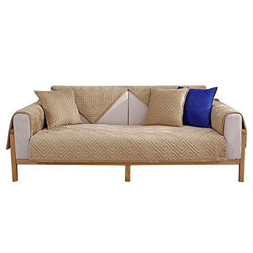 YUTJK Funda de sofá de Esquina,Fundas de Asiento de sofá de Tela para Sala de Estar,Funda Protectora de Muebles,Estera de sofá de Terciopelo de Cristal Engrosada,para Dormitorio,Caqui_Los 90×180cm