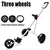 KXDLR Golf Cart, 3 Wheel Trolley Swivel Folding Pull Push Golf Cart with Cup Holder
