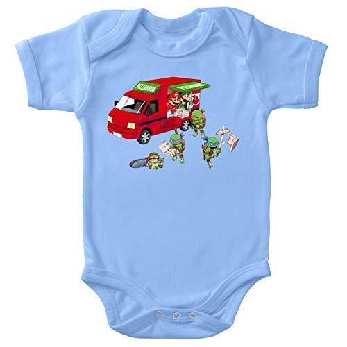 Teenage Mutant Hero Turtles - Super Mario Lustiges Blau Baby Strampler - Donatello,Leonardo,Raphael, Michelangelo und Mario und Luigi (Teenage Mutant Hero Turtles - Super Mario Parodie) (Ref:1061)