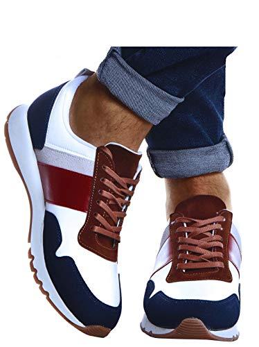 Leif Nelson Herren Schuhe für Freizeit Sport Freizeitschuhe Männer weiße Sneaker Sommer Coole Elegante Sommerschuhe Sportschuhe Weiße Schuhe für Jungen Winterschuhe Halbschuhe LN721X; 41, Blau