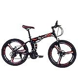 QZMJJ Hors Route Vélo, VTT Fille Garçon vélos 26 Pouces vélo Pliant avec Spokes Roue intégré en Acier Robuste 6 Suspension et Haut de Gamme Pleine Vitesse 24 Vitesse, (Color : F)