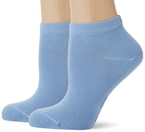 Marc O'Polo Body und Beach Damen W-Sneaker 2-Pack Füßlinge, Blau (blau 800), 35/38 (Herstellergröße: 400) (2er Pack)