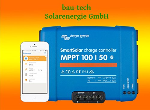 Victron Smartsolar MPPT - Regulador de carga (100/50, 50 A, 12 V o 24 V, incluye Bluetooth)