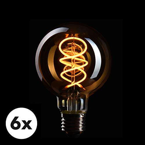 CROWN LED 6 x Edison Glühbirne E27 Fassung, Dimmbar, 4W, 2200K, Warmweiß, 230V, EL18, Antike Filament Beleuchtung im Retro Vintage Look