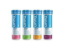 four containers of different flavored nuun sports tabs