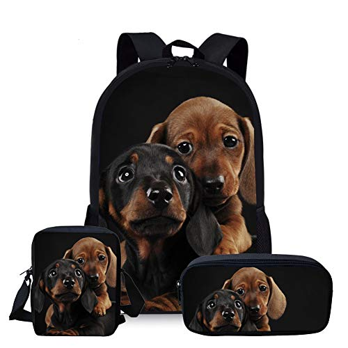 Nopersonality Cute Dachshund School Backpack Teen Girls Schoolbag Set with Small Cross Body Bag Shoulder Strap Handbag Pencil Case 3 Pieces