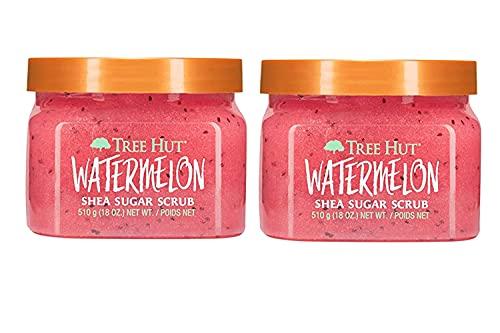 Tree Hut Watermelon Sugar Scrub, 2 pack - 18 oz jars, for hydrated, youthful-looking skin