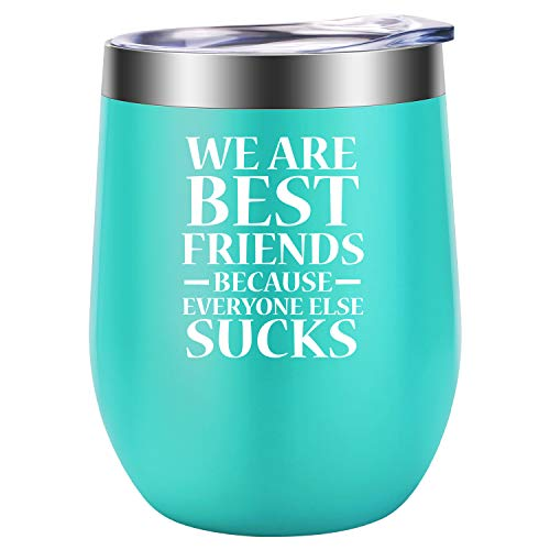 Best Friend Gifts, Friendship Gifts for Women - Funny Birthday, Mothers Day Gifts for Friend, Her, BFF, Bestie, Unbiological, Soul Sister, Girlfriend, Coworkers, Friends Female - LEADO Wine Tumbler
