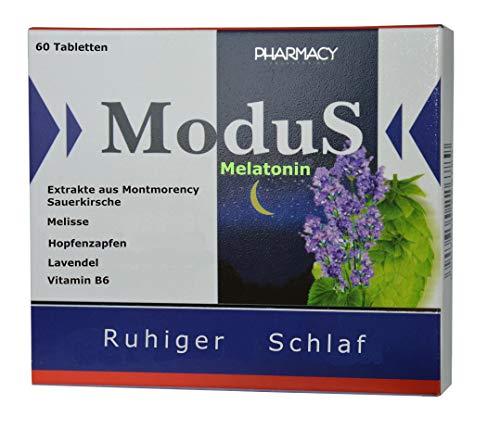 Einschlafhilfe, 60 Tabletten, mit Hopfen, Melisse, Passionsblume, natürlichem Melatonin aus Montmorency Sauerkirsche, 1 Tabl. zum Einschlafen